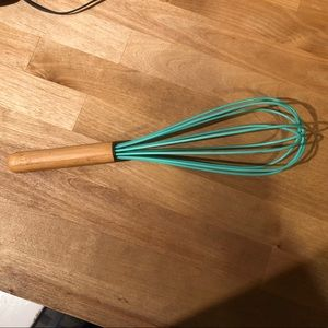 Teal Silicone wrapped whisk with wooden handle